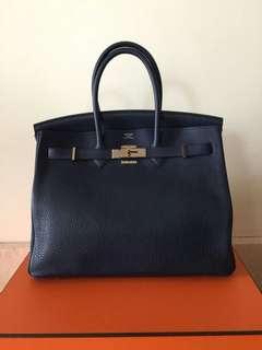 Hermes Birkin 35 Blue Sapphire Clemence PHW