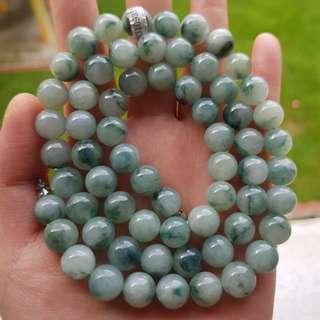 Grade A myanmar jade with cert 10mm冰种飘花 翡翠项链