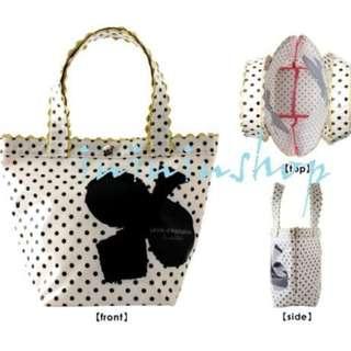 全新日本品牌 Crystal Ball flower Germain Bag 華麗可愛白色大花 大頭狗手挽袋飯袋出街袋