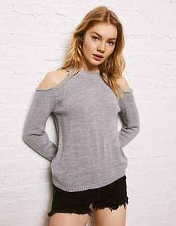 American Eagle Knitted Cold Shoulder Top