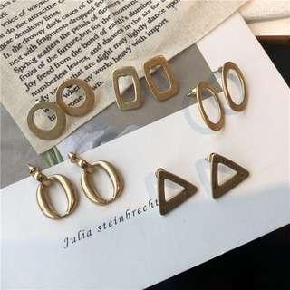 🚚 韓 簡約幾何耳環