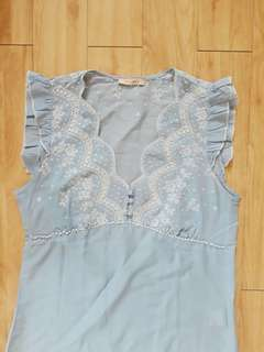 Skyblue Embroidered Blouse