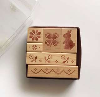 Cross Stitch wood rubber stamp