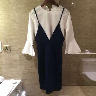 Set Korean dress, white chiffon blouse & navy blue scuba