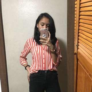 Orange Striped Polo