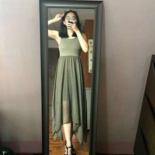 H&M Olive Green Knit & Polyester Maxi Dress