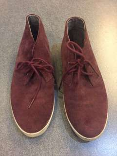 Fred Perry suede hi tops in wine