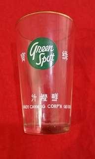 1950,60年代綠寶鮮橙汁加金邊玻璃杯😍