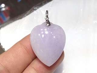 100%純天然A貨翡翠~紫羅蘭種淺粉紫色「杏心」鍊墜