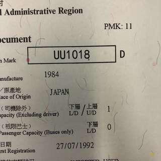 車牌號碼-UU1018