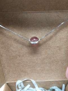 清貨! 天然草莓晶石配純銀頸鏈