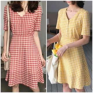 Women Vintage Plaid Dress