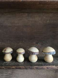 Set of 4 Handmade wooden mushrooms