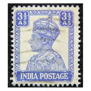 1948年英屬印度(British India)英皇佐治六世像3.5安那(Annas)郵票(獨立前最後一款)