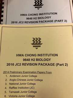 🚚 Hwa Chong A level H2 Biology Past Year Papers