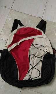 Cream, red & black knapsack