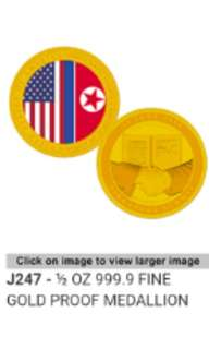 🚚 United States - North Korea summit Trump kim Gold Medallion coin