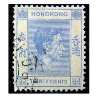 1941年英屬香港(British Hong Kong)英皇佐治六世像叁毫郵票