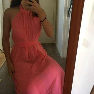 Pink/coral halter ball dress