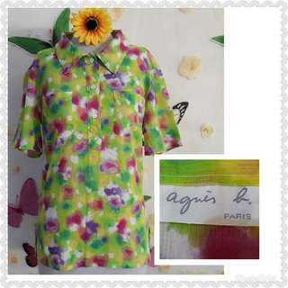 AGNES B PRINTED STRETCHABLE BLOUSE M/semi L