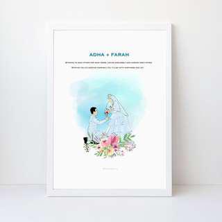 Framed Couple potrait illustration