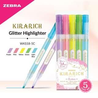 Zebra WKS18-5C Kirarich Glitter Highlighter - 5 Color Set