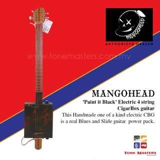 Mangohead 'Paint it Black' 4-String Cigarbox Electric Guitar