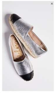 Sam Edelman 全新銀色草草編鞋,尺寸:US7.5/24.5cm
