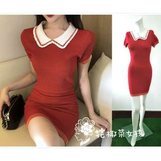 現貨/預購.紅色針織連衣裙.娃娃領氣質紅白拼接款合身小洋裝.長版針織上衣.S1-D1-304.花椰菜女孩