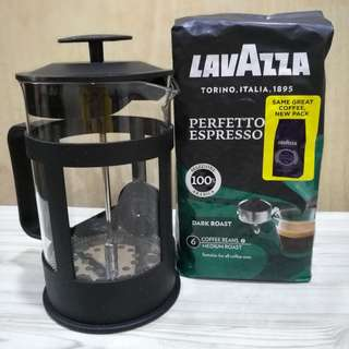 French Press + Lavazza Roasted Coffee Beans 500gm