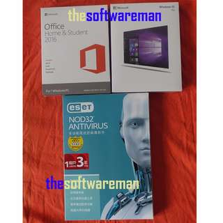 [全新未折, 買斷版] Microsoft Windows 10 Pro USB Boxset + Office 2016 + eSet NOD 32