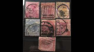 Singapore Straits Settlements Queen Victoria 6 early Used stamps (+1 damaged)