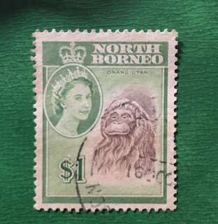 Malaya North Borneo Queen Eliz $1 orang utan stamp Used