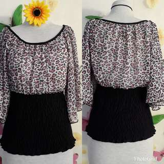 CHIFFON FITTED DOWN BLOUSE.S/M