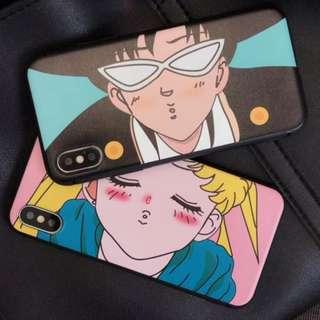手機殼IPhone6/7/8/plus/X : 情侶款美少女戰士眼鏡男全包黑邊軟殼