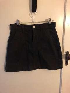 Black high waisted A-line skirt