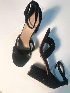 Black Suede Bedazzled Heels