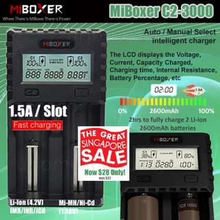 MiBoxer C2-3000 1.5A Per Slot Fast Smart Charger With UK Plug (GSS) - 18650, 26650, 2 Slots Battery Charger