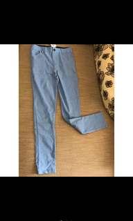 🚚 超激瘦 彈性提臀藍色長褲XL