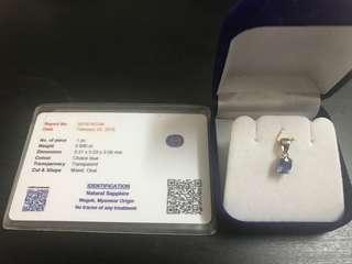 0.89 carat Mogok Blue Sapphire Pendant