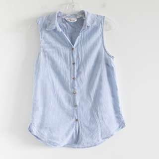 Blue striped sleeveless cotton H&M loose fit top. Small S 4 collared light blue