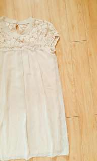 Beige Vintage Lace Dress