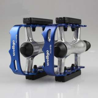 Blue WELLGO MTB/ROAD BIKE Aluminum Bicycle Pedals 9/16''