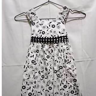 Black and White Flower Print Dress for 8-10 yrs. old
