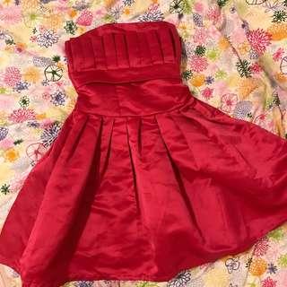 🚚 蓬蓬緞面桃紅小禮服