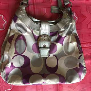 Coach Hobo Scarf Bag Purple Silver