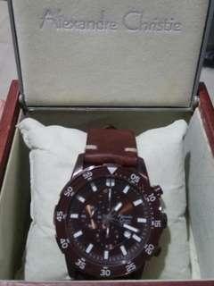 Jam tangan Alexandre Christie original chrono - 6192MC + strap custom kulit asli