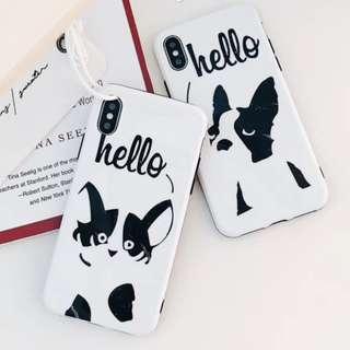 手機殼IPhone6/7/8/plus/X : 北歐大理石簡約貓狗全包黑邊軟殼