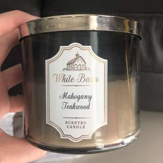 Bath and body works 3 wick candle - white barn mahogany teakwood
