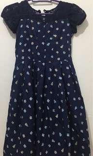 Floral Navy Blue Kiddie Dress (used twice)